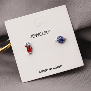 Korea Astronaut's Planet Stud Earrings