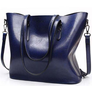 women's fashion handbags large capacity wax leather casual bag