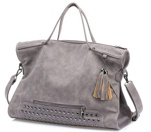 Leather Punk Rivet Studded Tassel Satchel Handbag