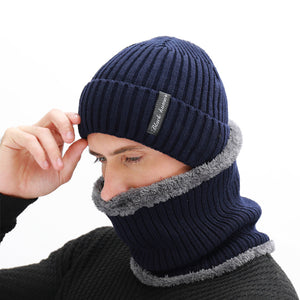 Men's Winter Beanies Scarf Knitted Hat