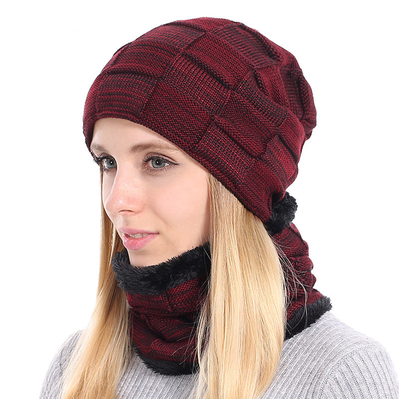 Women Winter Beanies Scarf Knitted Hat