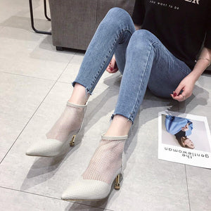 women shoes Fashion versatile breathable stiletto boots thin heels with 6.5CM  boots for women