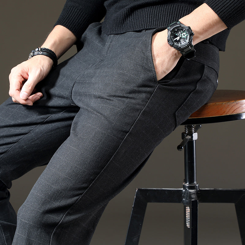 Men Casual Cotton Long Trousers straight Work Pant