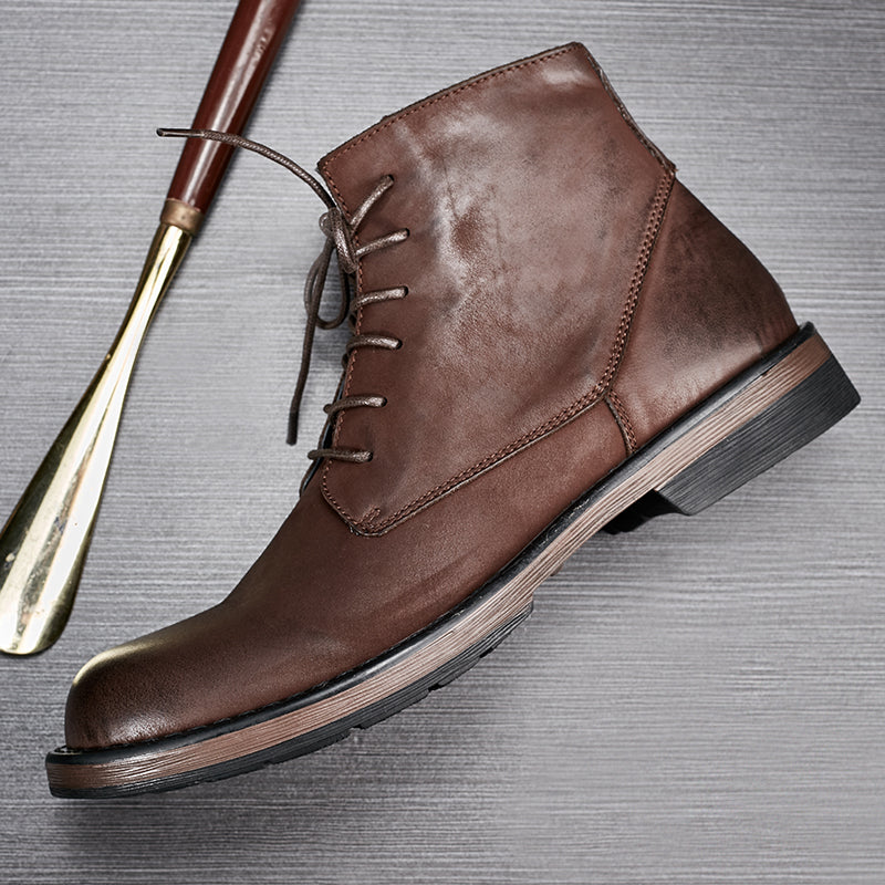 High Quality Men's Genuine Leather Martin Boots Retro Style High-top Shoes