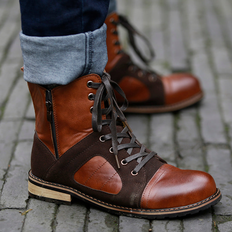 Fashion Autumn Winter Lace-up Roman Style Men Ankle Boots