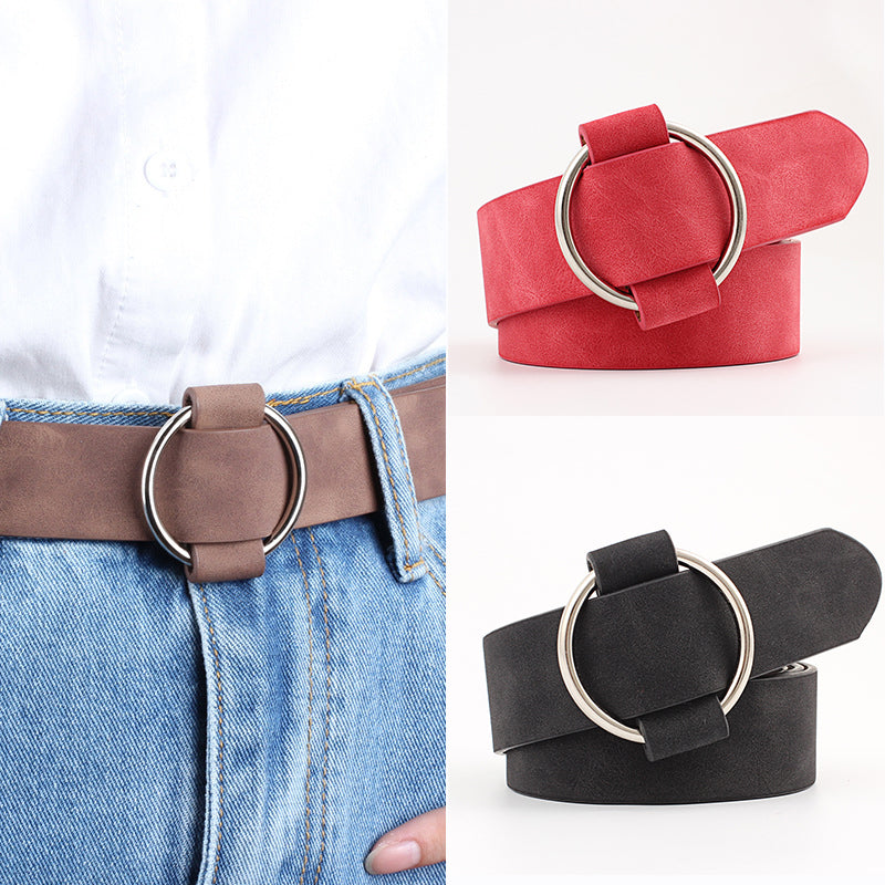 Women Without Pin Metal Buckle Leather Belt
