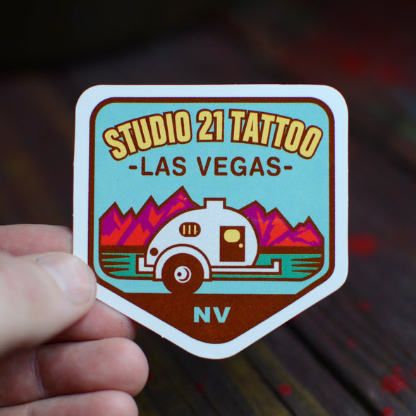 Vintage Style Camping Sticker