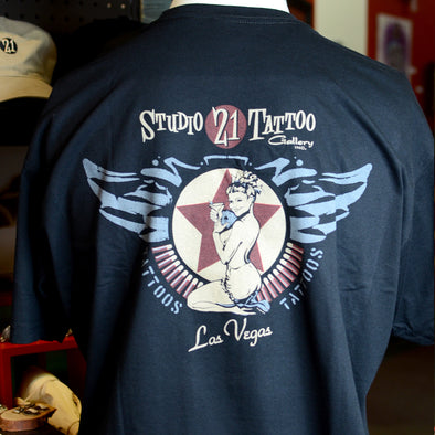 Studio 21 Tattoo Gallery Las Vegas Pin-Up Bomb T Shirt