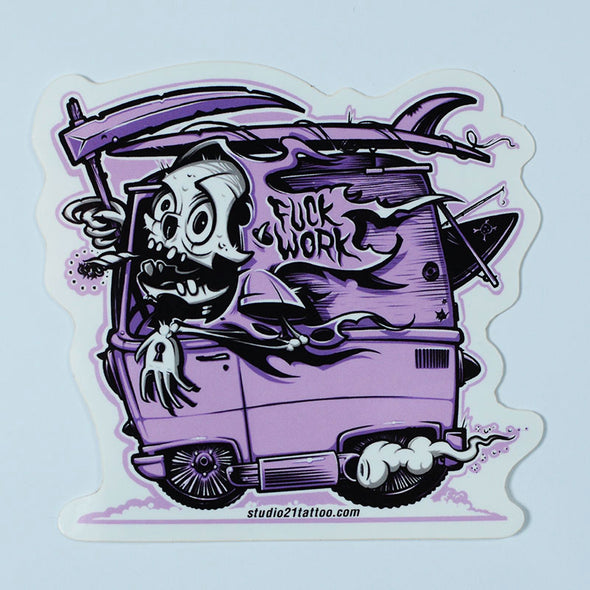"Skeladude Van ""Fuck Work"" Sticker"