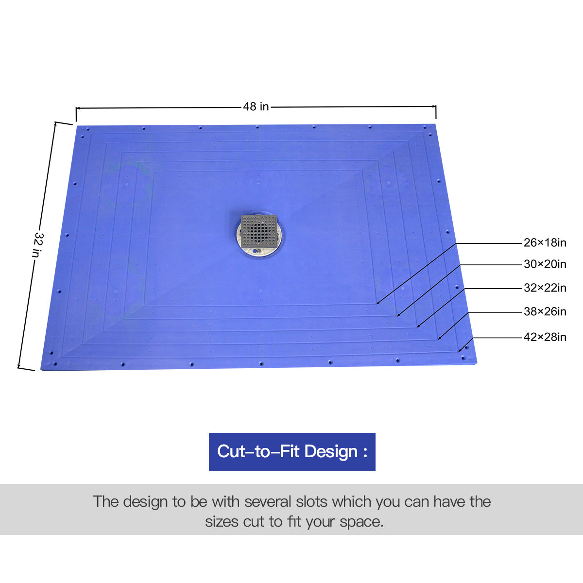 "Curbless Ready to Tile Shower Pan/Base Cut-to-Fit  48X32"" ABS Material with Fibreglass Reinforced"