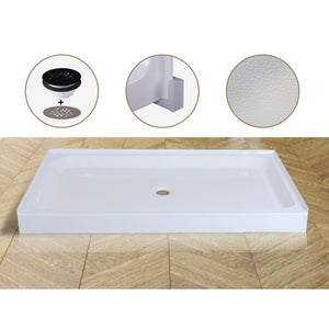 Acrylic Shower Base 60X36X5-1/2in Single Threshold and Center Drain in White