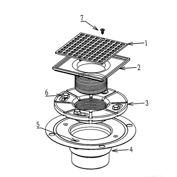 4-1/4 Square Design Tile In Floor Shower Drain, Chromed Plated and Adjustable Height Shower Drain for Low Profile Shower Pan, ABS material.