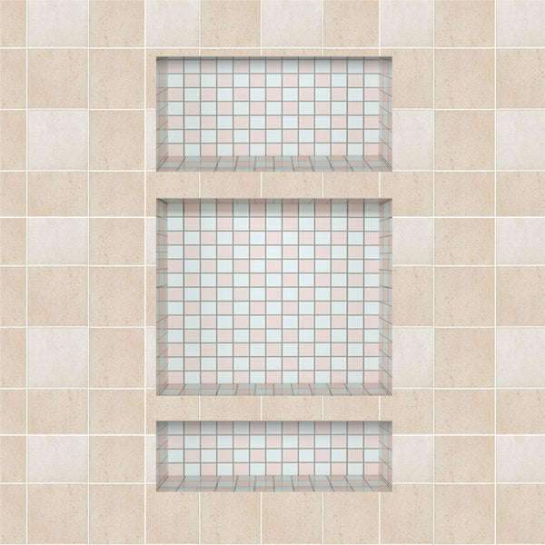 "Ready For Tile 28""×16"" Plastic Shower Niche Shelf , Flush Mount Bathroom Niche  UGRN1620-02+UGRN1406"
