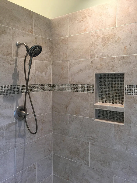 17''×25'' Double Shelves Shower Recessed and Built In Shower Shelves in Bathroom UGRN201
