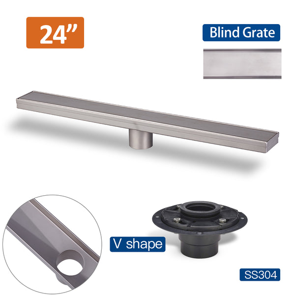 24 Inch Linear Floor Drain with Stainless Steel Drain Cover Blind Style and Linear Drain Base with Rubber Gasket UGLD24-Blind+UGDB001-ABS