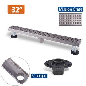 32 Inch Linear Drain For Shower with Grate Cover Linear Floor Drain Brushed Mission Style,Drain Base with Rubber Gasket  UGLD32-Mission+UGDB001-ABS