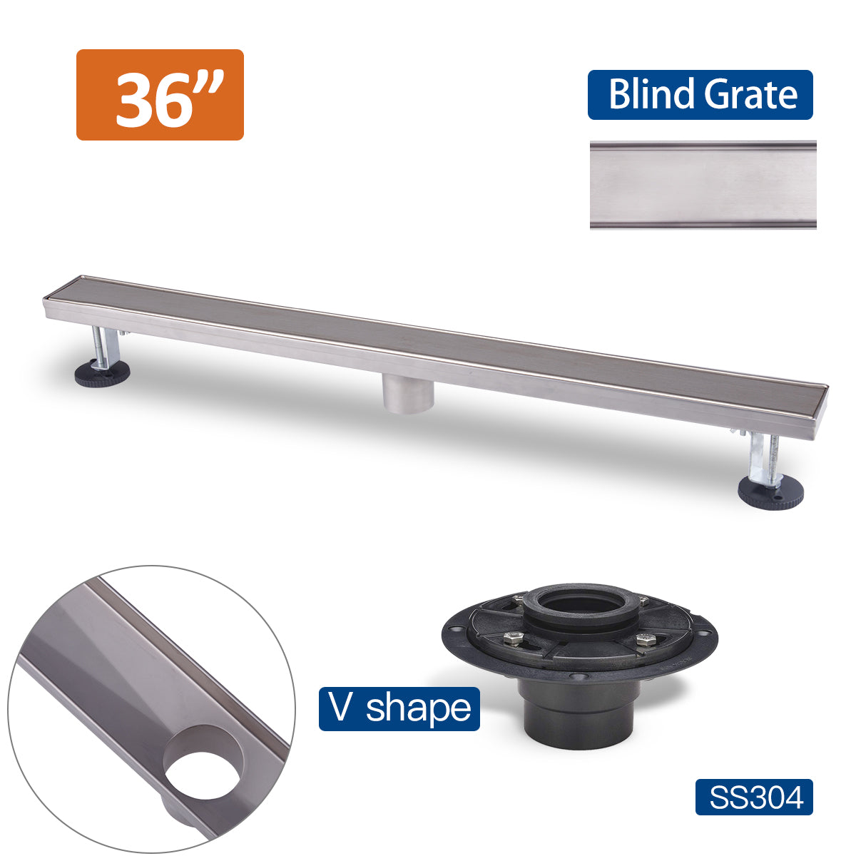 36 Inch Stainless Steel Linear Floor Drain Blind Style and Drain Base with Rubber Gasket