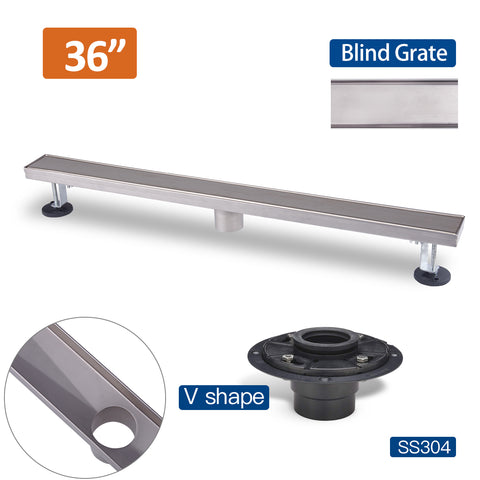 36 Inch Stainless Steel Linear Floor Drain with Removable Grating  Blind Style and Drain Base with Rubber Gasket UGLD36-Blind+UGDB001-ABS