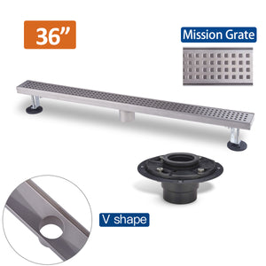 36 Inch Brushed Stainless Steel Linear Shower Drain Mission Style and Drain Base with Rubber Gasket