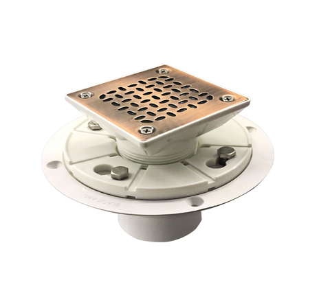 PVC Square Shower Drain for Low Profile Show Pan Drain with SS304 Grating Dip Bronze Finish UGSD001-Oval-PVC