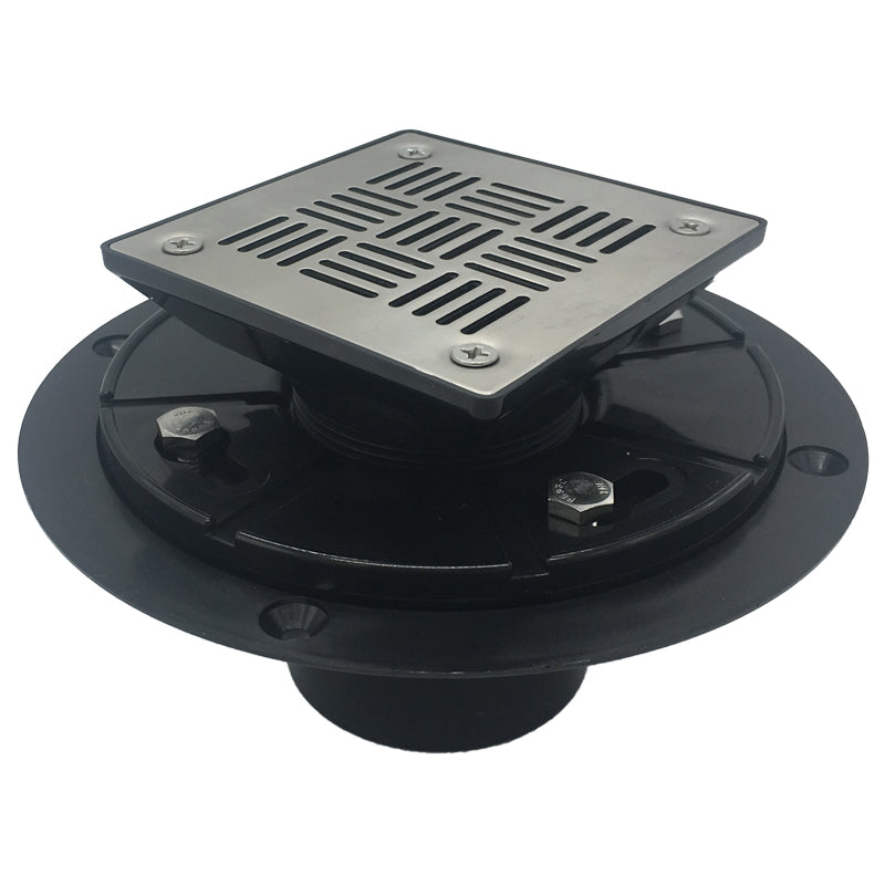 Square Shower Drain for Low Profile Show Pan Drain, ABS Construction Neo Style
