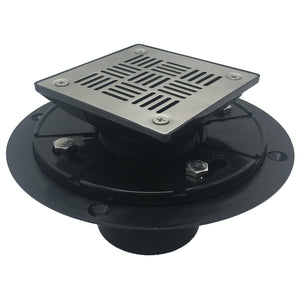 Square Shower Drain for Low Profile Show Pan Drain with SS304 Grating, ABS Construction Neo Style  UGSD001-ABS-Neo