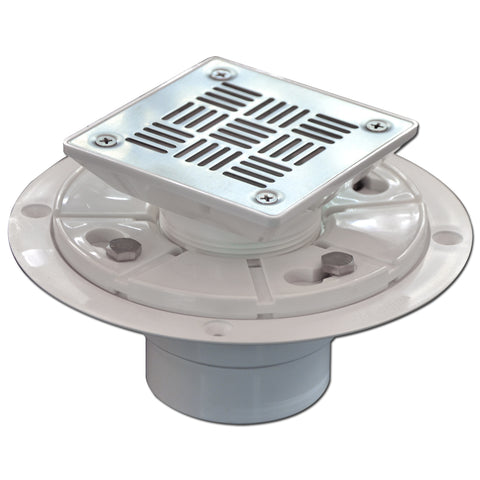 "3-1/2"" Square Shower Drain for Low Profile Show Pan Drain with SS304 Grating Neo Style PVC  UGSD001-PVC-Neo"