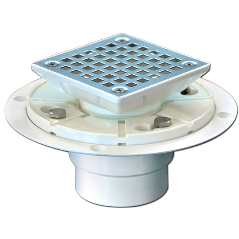 Square Shower Drain Low Profile Show Pan Drain with SS304 Grating Mission Style PVC Construction  UGSD001-Mission-PVC