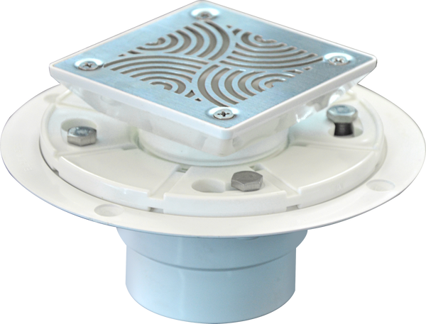 Square Shower Drain for Low Profile Shower Pan with SS304 Grating, Drain Flange PVC Material  UGSD001-Deco-PVC