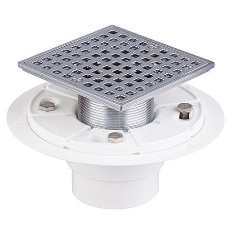 "4-1/4"" Plastic Floor Shower Drain With Square Drain Grate Chrome Plated UGSD002-PVC"