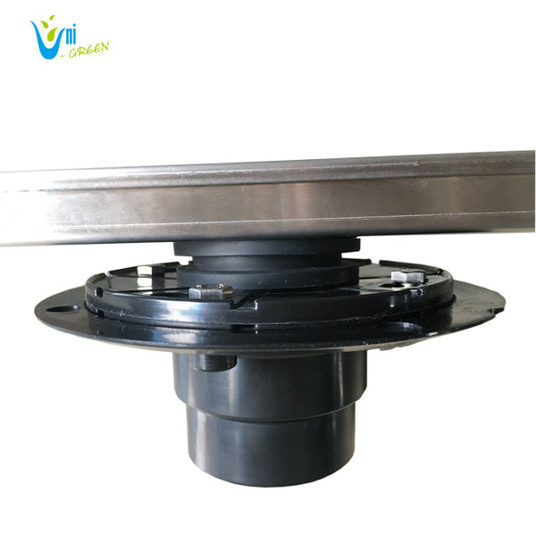 24 Inch Linear Shower Floor Drain and Drain Base with Rubber Gasket UGLD24-Mission+UGDB001-ABS