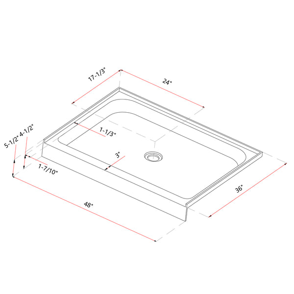 Acrylic Shower Base 48X36X5-1/2in Single Threshold and Center Drain in White