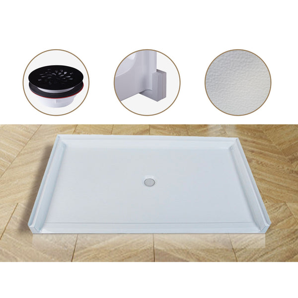 Curbless Acrylic Shower Base 62X36 in | Barrier Free Shower Base with Center Drain in White Color