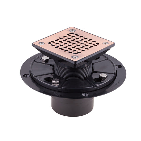 Square Shower Drain for Low Profile Show Pan Drain with SS304 Grating Oval Style Bronze Finish UGSD001-Oval-ABS