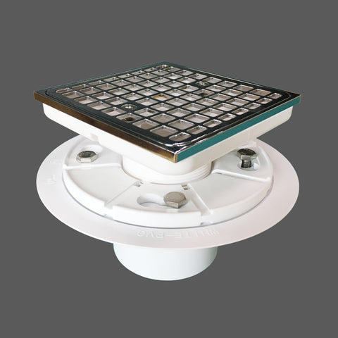 "4-1/2"" Tile In Shower Floor Drain Square Design and Height Adjustable, Grating to Be SS304 and Chrome Plated, Material PVC with Hair Catcher"