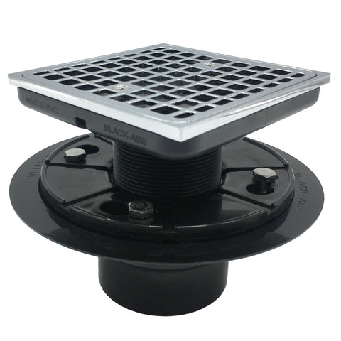 Square Tile-In Floor Drain With SS304 Strainer For Bathroom Chrome Plated UGSD003-ABS