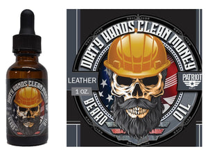 Dirty Hands Clean Money 1oz Natural Beard Oil  Leather and Oakmoss - Patriot Mens Company