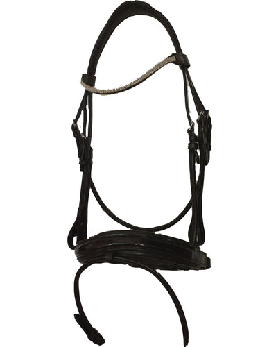 HALF ROLLED PATENT LEATHER SNAFFLE BRIDLE