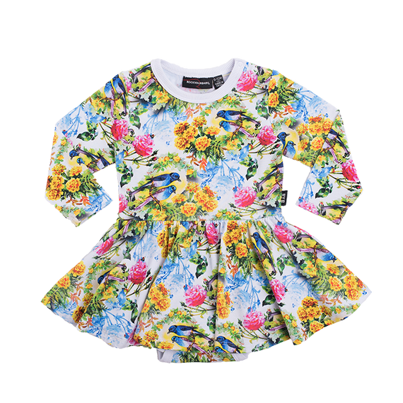 bird bloom l/s waisted dress