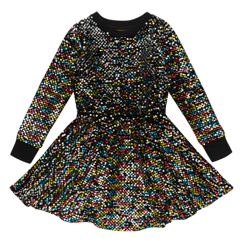 Sequin LS Wasited Dress