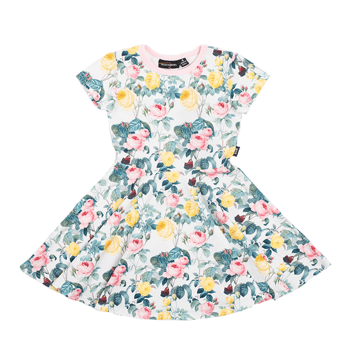 A rose is a rose SS Waisted Dress Girls
