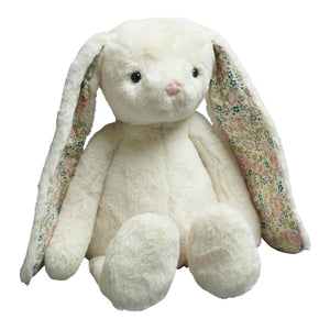 White Plush Bunny with Floral Ears