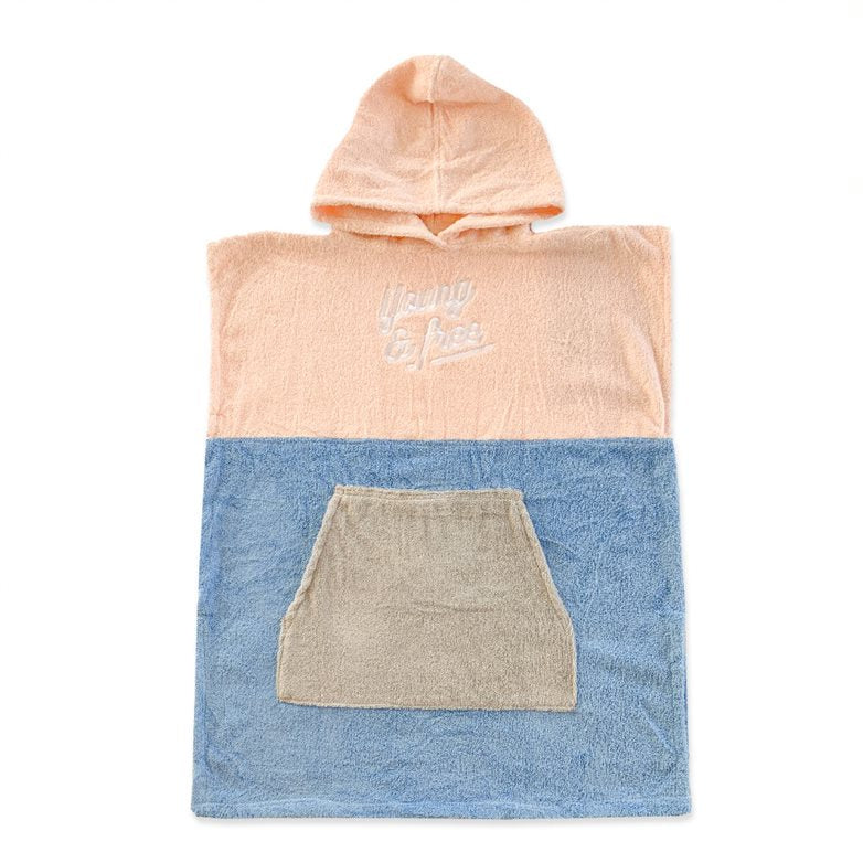 Young and Free Poncho Towel Pink + Blue