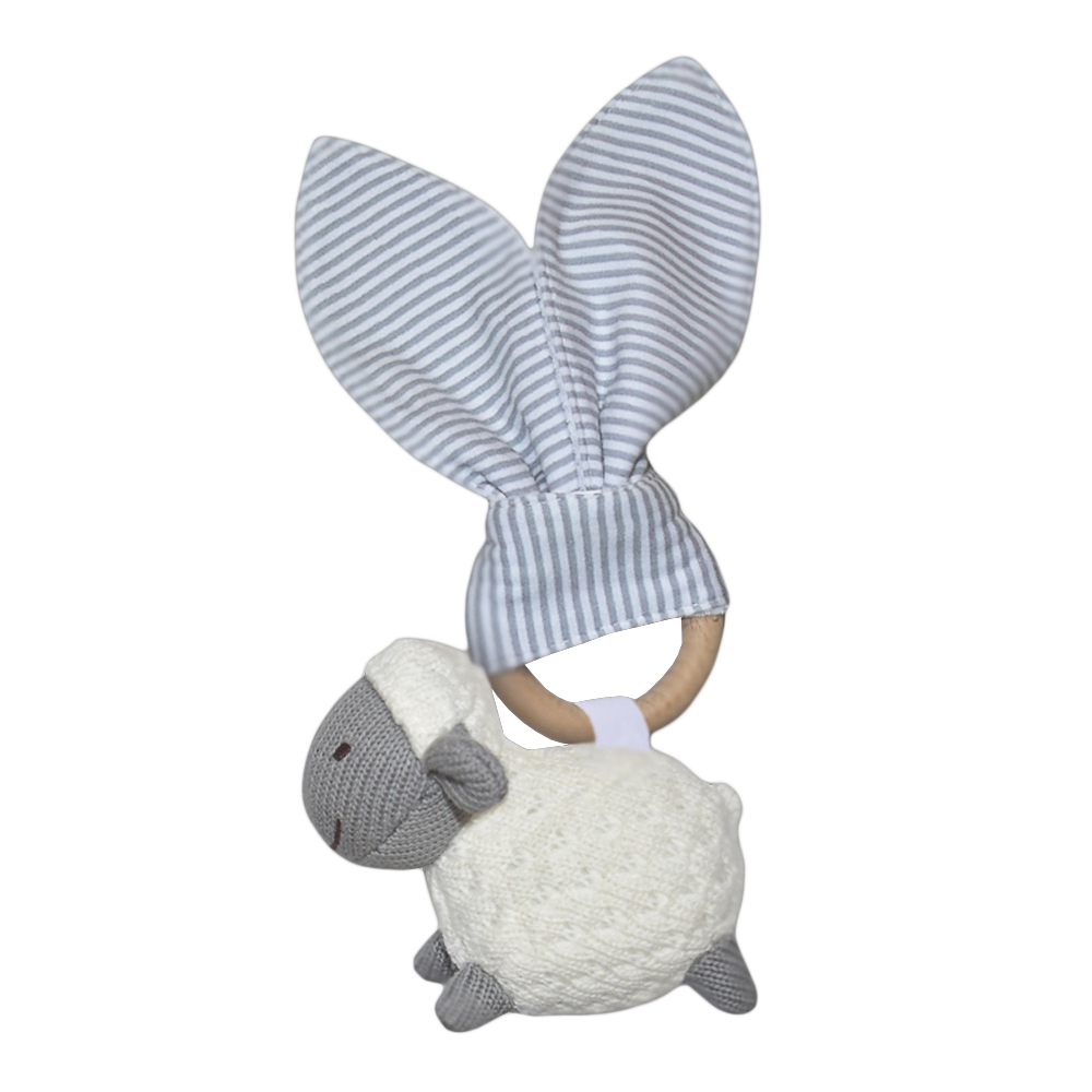 Wooden Teether Rattle Sheep