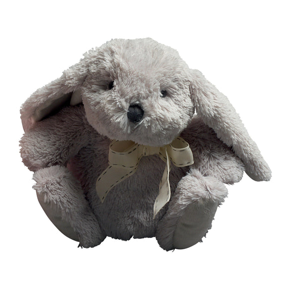 Grey Plush Bunny with Ribbon