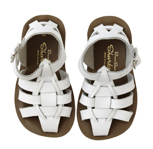 Saltwater Shark White Sandals