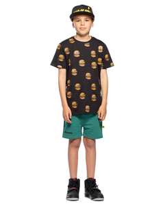 Hamburger Repeat Oversize Black Tee