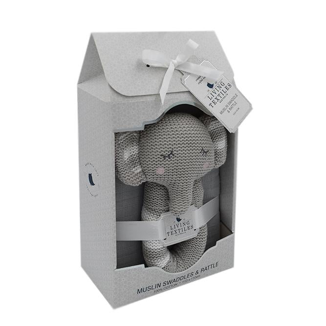 Theodore the Elephant Rattle and Swaddle Set
