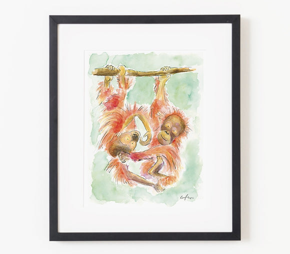 Burt and Sally The Orangutangs A4 Print