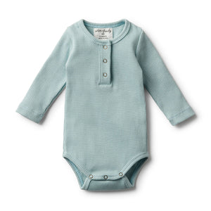 Atlantic Mini Stripe Rib LS Bodysuit